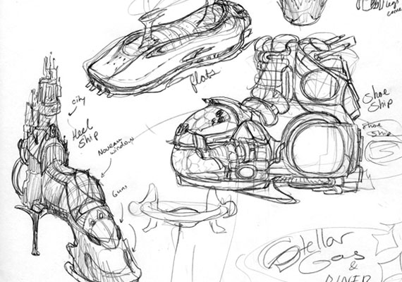 A sketch exercise where shoes had to be converted into space ships.