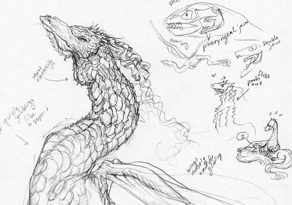 Concept sketch with a dragon that possesses a double jaw.